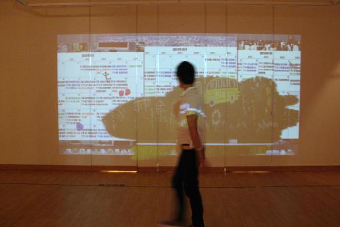 黃雅玲時間板擦作品可以用互動方式回憶兒時猜黑板的樂趣